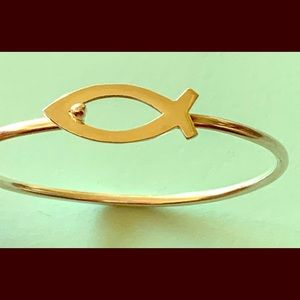 Jewelry - Vintage Sterling Christian Ichthus Fish Bangle